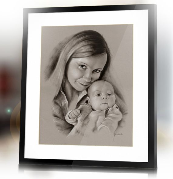 Mother with baby Mother's day custom hand drawn portrait from photo by Jacek Jaśkowiak PortraitsBuy
