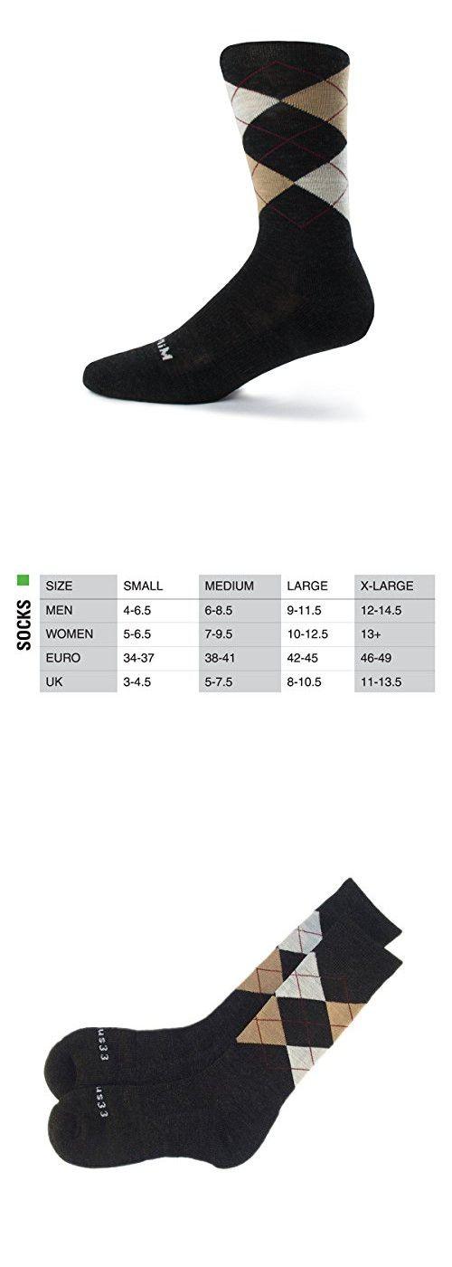 Minus33 Merino Wool Argyle Sock Natural, Charcoal Grey, Medium