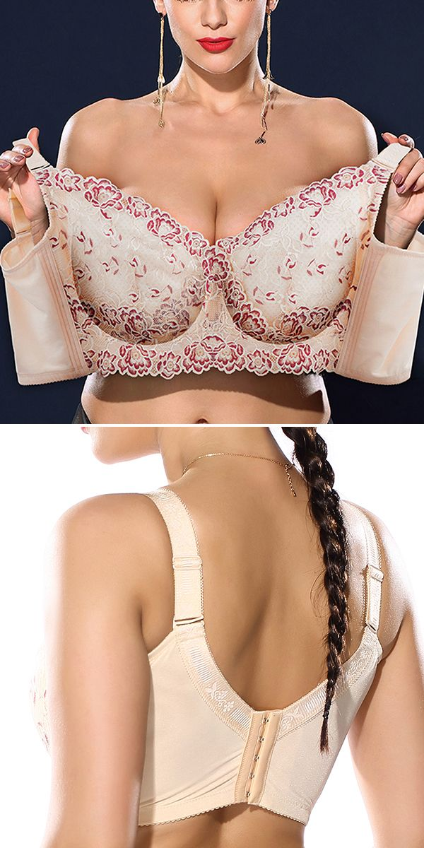 e60708d47 Plus Size Wireless Embroidery Unlined Full Cup Bras