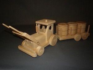 tracteur jouet en bois avec remorque foin
