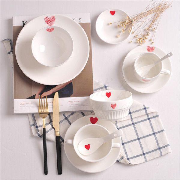 Творческие Свадебные подарки японские тарелки завтрак столовый набор красный в форме сердца десерт миска и чашка кофе чашка воды керамический