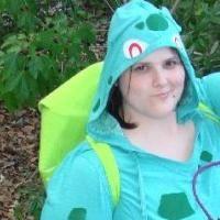 bulbasaur backpack from pizza box. pair with green pants & t-shirt, attach green hexagons.