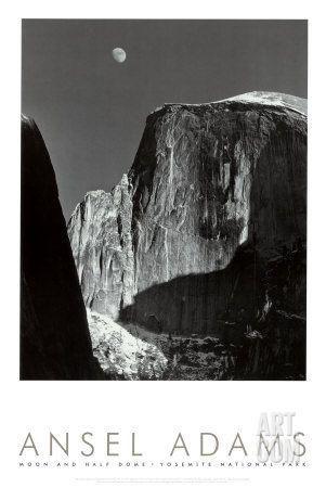 Moon and Half Dome, Yosemite National Park, 1960 Art Print by Ansel Adams at Art.com