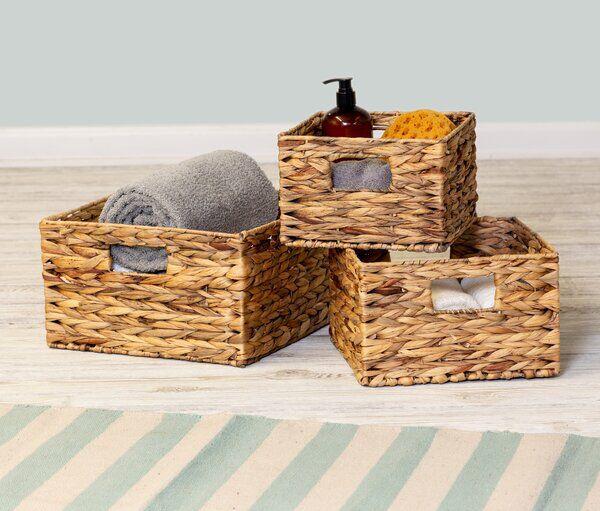 Lambeth 3 Piece Wicker Rattan Basket Set Basket Sets Storage Baskets Rattan Basket