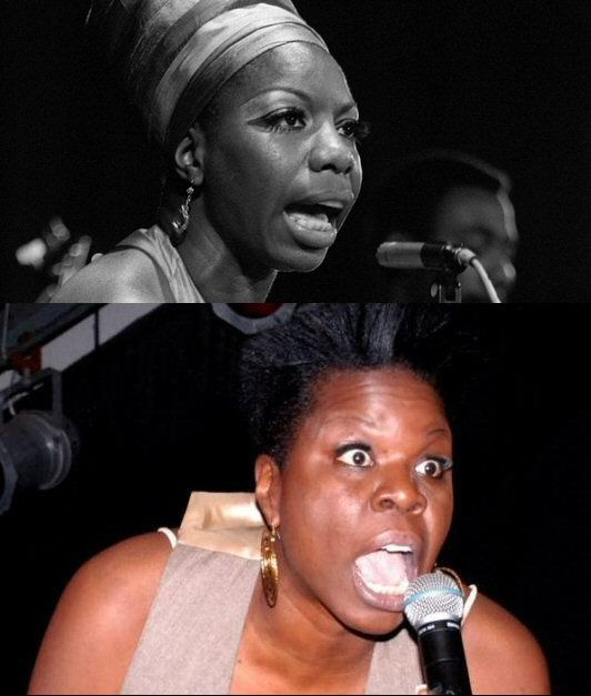 Yet another SNL alumni; Leslie Jones (bottom) bears quite a striking resemblance to singer Nina Simone (top). Since it's hard to find a profile picture to compare their similar facial features, the next best thing (a stage microphone) was sought out.