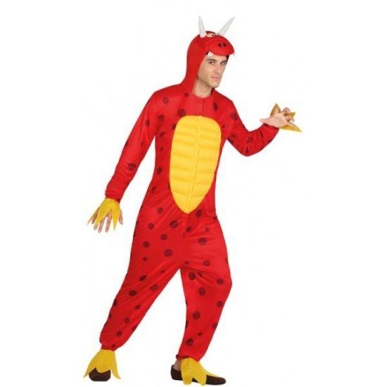 Draken onesie kostuum voor mannen  Rode draak kostuum voor heren. Rode met gele draken onesie voor volwassenen. Materiaal: 100% polyester.  EUR 27.95  Meer informatie