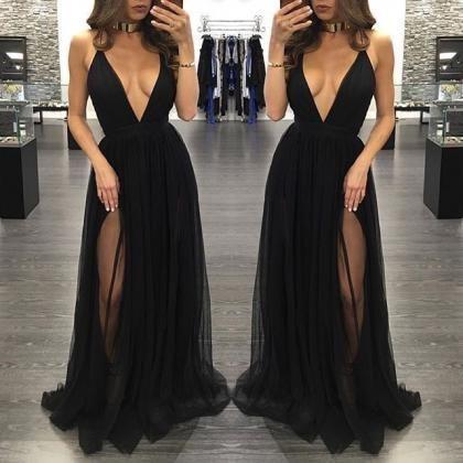 Black deep V-neck Evening Dress, tulle long prom dresses,evening dress,formal dress