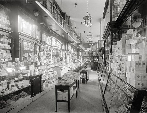 New York City, Drug Store, Pennsylvania Station, year 1900.NY black and white photography.New York City art print.Wall art poster
