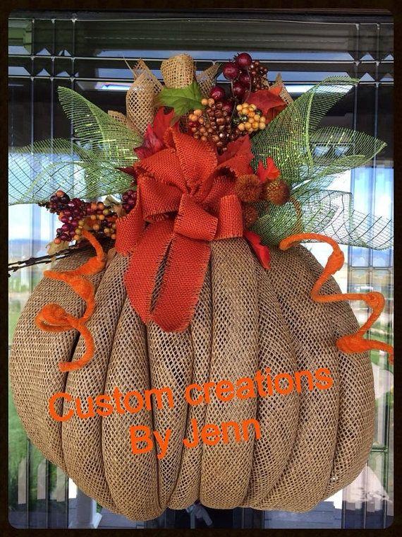 burlap  pumpkin wreath by Decoaddictions on Etsy