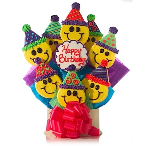 Party Hat Birthday Smiles Cookie Gift Bouquet Just a Cookie