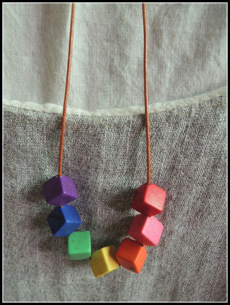 Природа бирюзовый камень геометрический ожерелье квадратный кожаный радуга NW1792