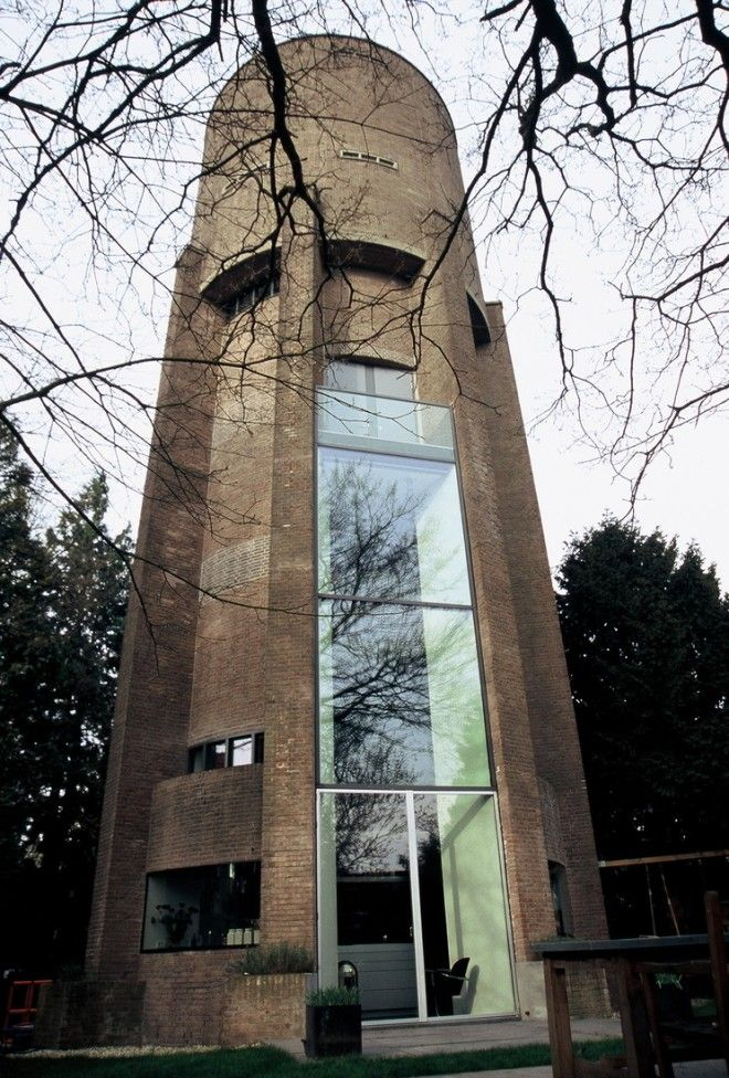 This water tower was originally built in 1931 and was converted into a one of a kind, modern bachelor pad