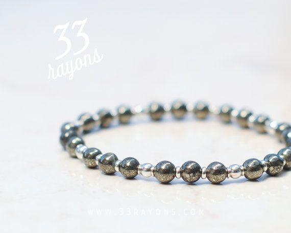 MENS Pyrite bracelet Mens Silver bracelet by 33rayons on Etsy