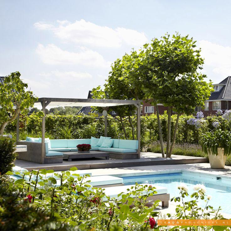 Tuininspiratie De Rooy Hoveniers zwembad loungeset lounge tuin meerstammige heester