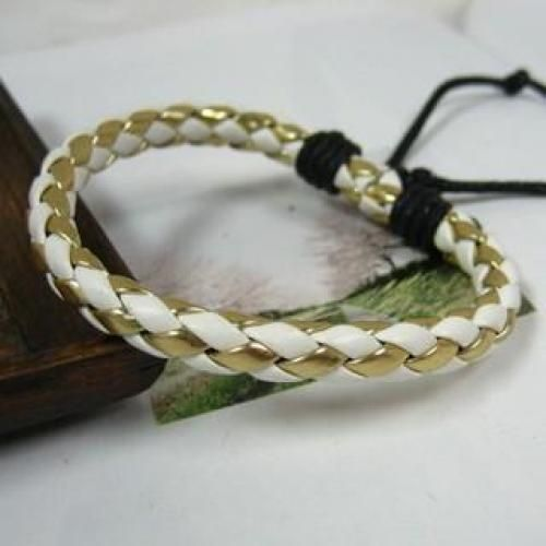 Faux-Leather Braided Bands Gold, White - One Size