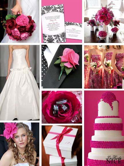 Boda Rosa Mexicano / Blanco / Negro Hot Pink / Black / White Wedding