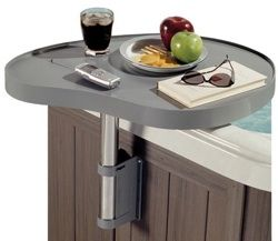 No need to try balancing food, drink, books or sunglasses on the edge of your hot tub with this attachable hot tub caddy.