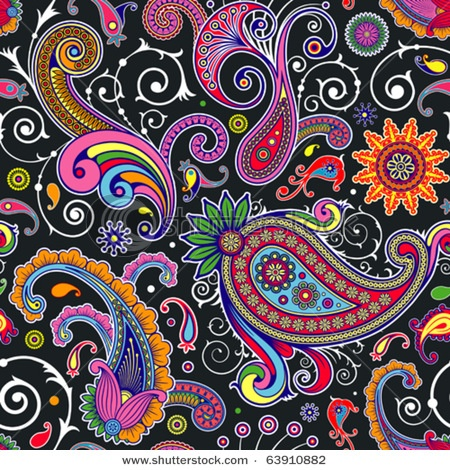 Colourful paisley - with so many colours I think the black background a wise choice