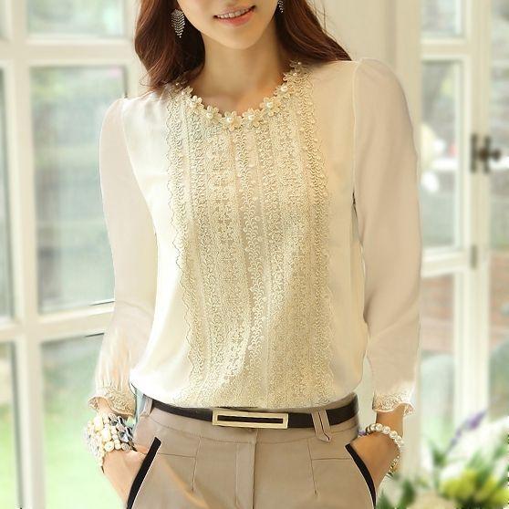 Oficina de 2014 mujeres de la señora de la manera del cordón blanco elegante bordado de manga larga de la gasa de la blusa Tops camisa del cordón de la gasa de la blusa