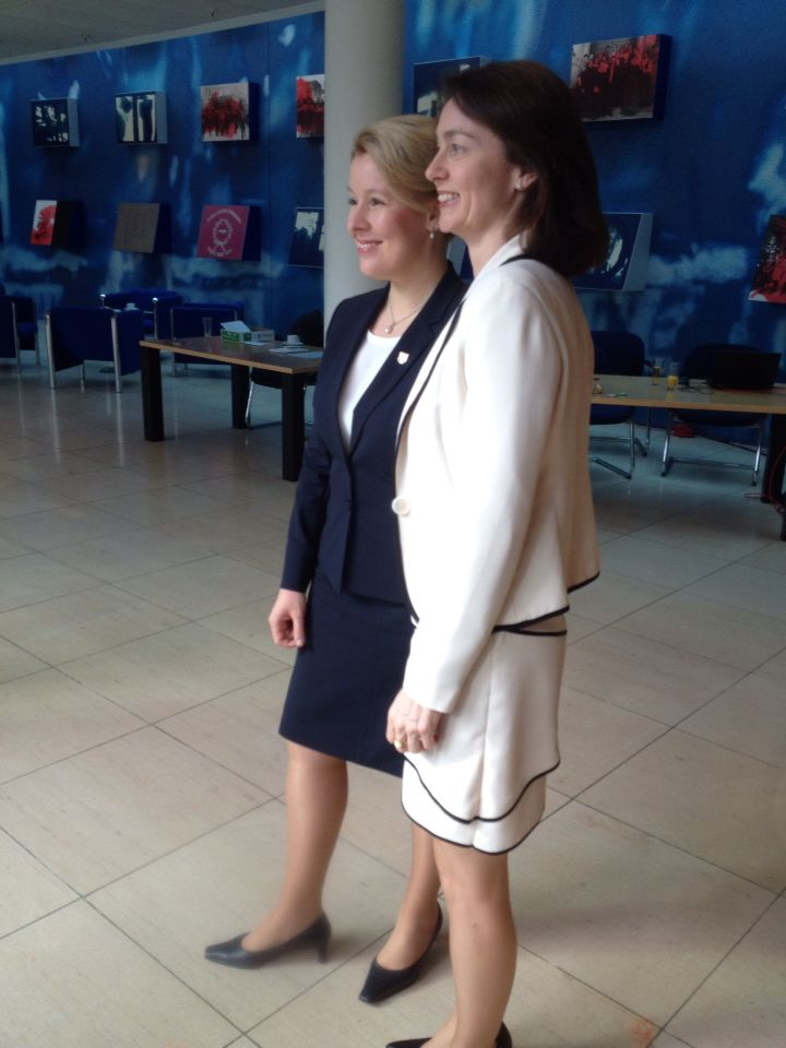 Katarina Barley and Franziska Giffey in Willy-Brandt-Haus