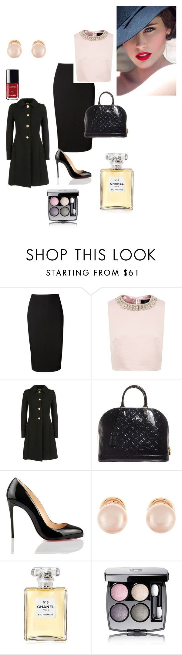 """Klassischer Stil"" by taniaazzini on Polyvore featuring moda, Victoria Beckham, Ted Baker, Miu Miu, Louis Vuitton, Christian Louboutin, Kenneth Jay Lane e Chanel"