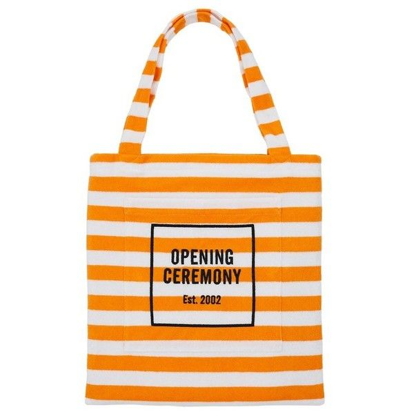 Opening Ceremony Orange Striped Terry Tote Bag found on Polyvore featuring bags, handbags, tote bags, stripe, totes, tote purses, summer beach tote, striped tote, summer purses and stripe tote