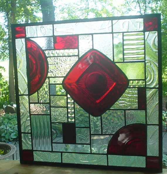 Ruby Crystal Collage Stained Glass panel