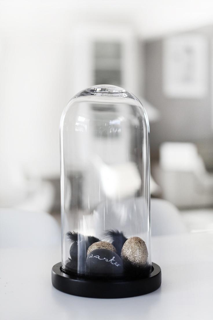 eieren in glazen stolp.