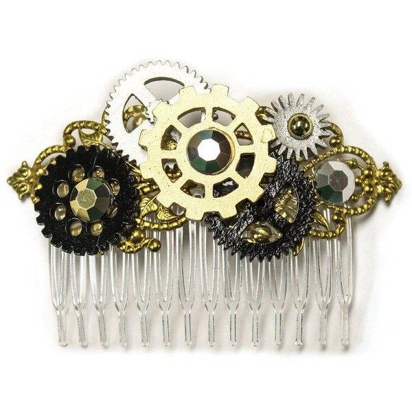 Steampunk Gears Costume Hair Comb ❤ liked on Polyvore featuring accessories, hair accessories, hair comb, hair comb accessories and steampunk hair accessories