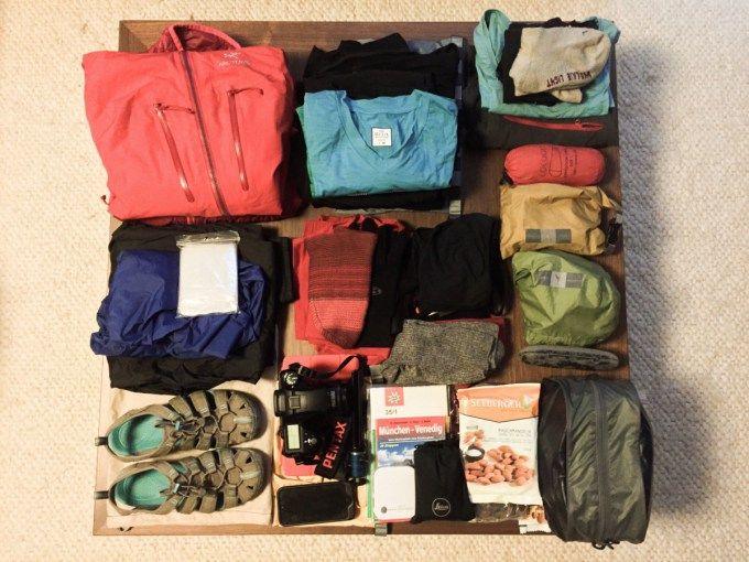 Alpenüberquerung - Von München nach Venedig mit nur 11 kg in einem 27l Rucksack. Tipps zum packen für Mehrtages-Wanderungen