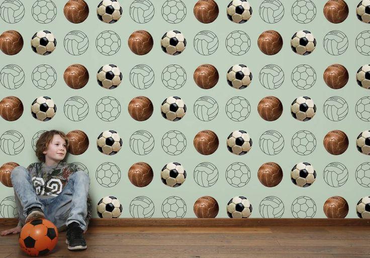 Voetbalbehang | wallpaper | behang | voetbal | soccer | € 49,95 per rol |Tinkle&Cherry | www.tinklecherry.nl