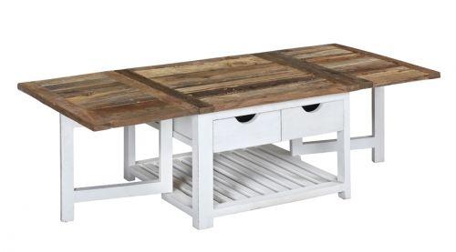 """Tøft og rustikt Avignon sofabord med innleggsplater i en stilig fargekombinasjon! Bordet kombinerer moderne """"slitt hvitt"""" med tradisjonell mønstret naturtopp i resirkulert alm."""