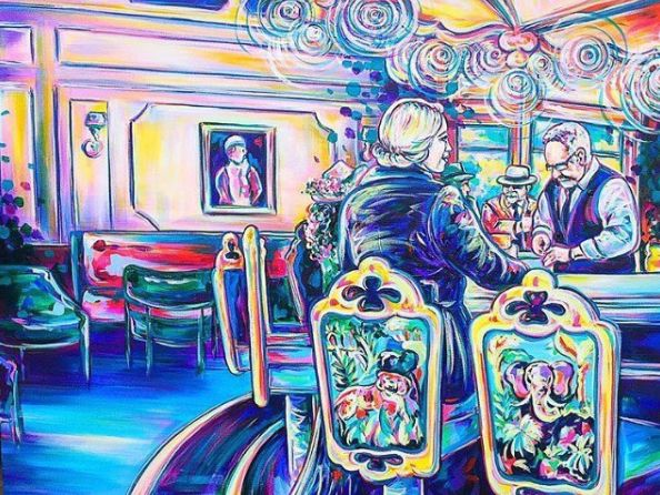 Step into the vibrant world of The Carousel Bar & Lounge. Painting: @honeysucklemarie