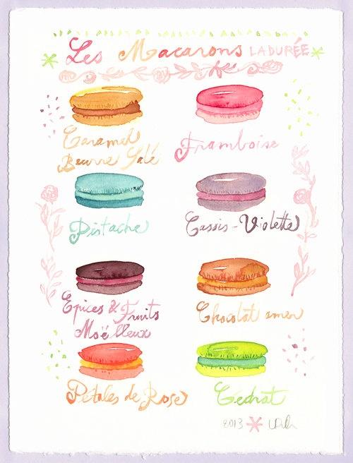 Macarons Ladurée watercolor painting Macaron flavors Kitchen art Pastel Paris French bakery