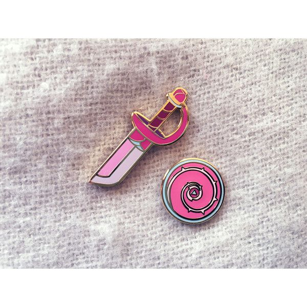 Steven Universe Rozenkwarts zwaard en schild emaille pins ($12) ❤ liked on Polyvore featuring jewelry, brooches, pin brooch and pin jewelry