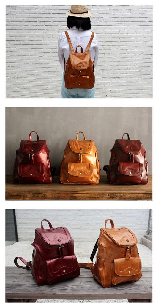 Women Fashion Top Grain Leather Backpack School Backpack Rucksack Unisex Backpack Daypack Travel Backpack 8006 -------------------------------- Overview: Design: Original Design Leather Backpack In St