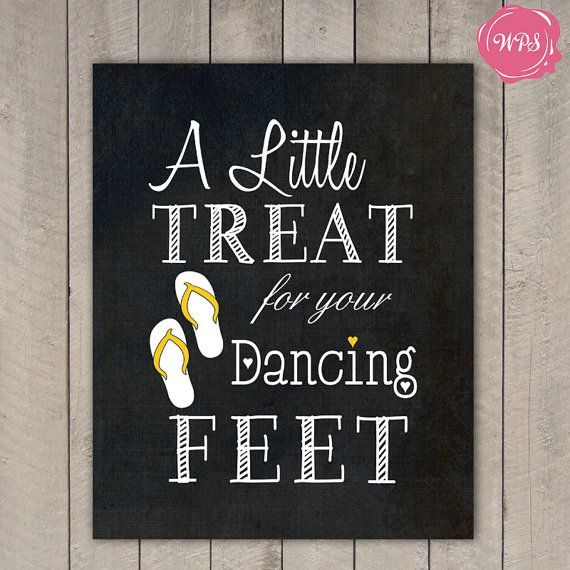 Dancing Feet Wedding Favour Sign Travel Beach by WeDoInvites
