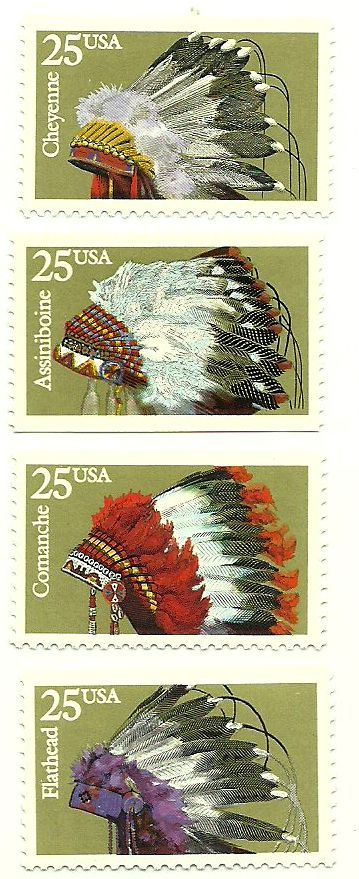 U.S.A. native American tribal head dress on Postage Stamps