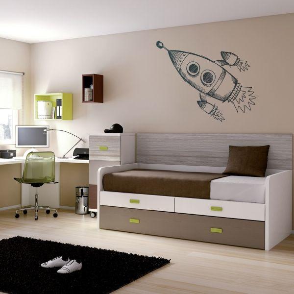 Un vinilo decorativo con motivo de nave espacial, puedes escoger tamaño y color Masquevinilo.com