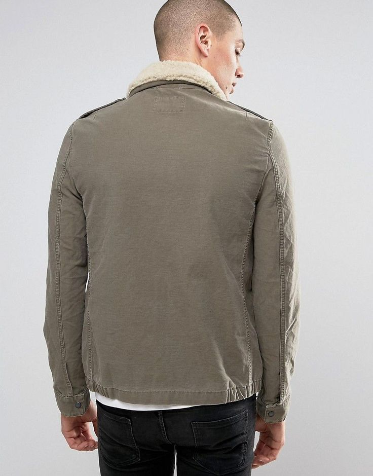 AllSaints Jacket with Shearling Collar - Green