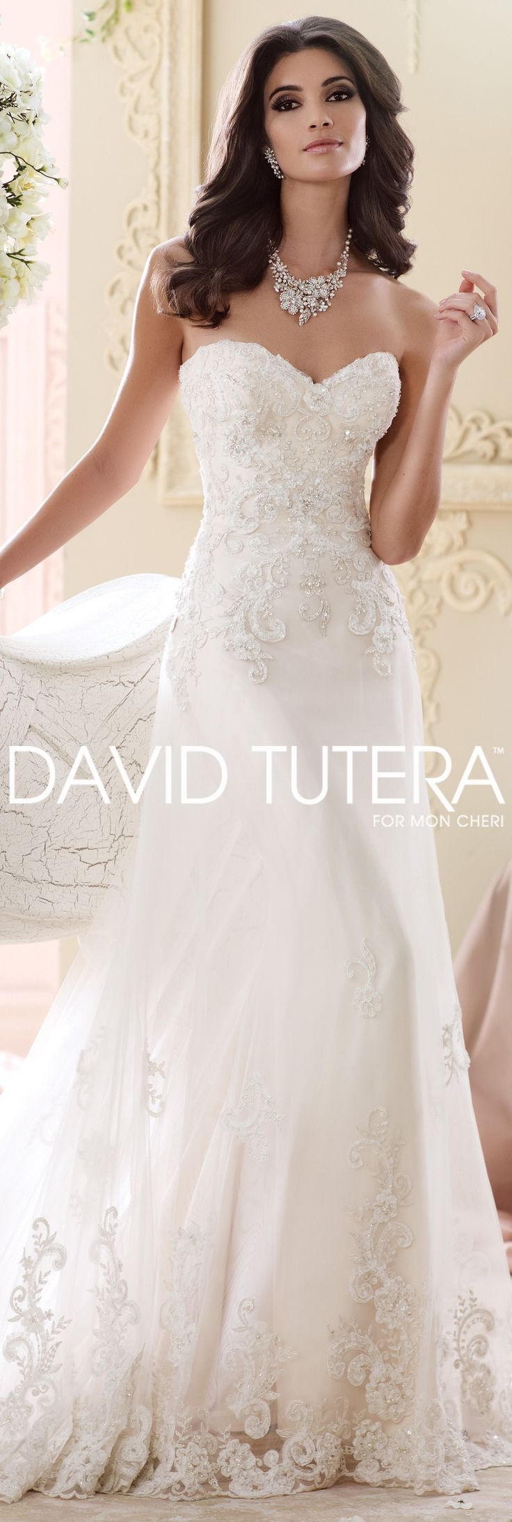 The David Tutera for Mon Cheri Fall 2015 Wedding Gown Collection - Style No. 215267 Nala #laceweddingdresses
