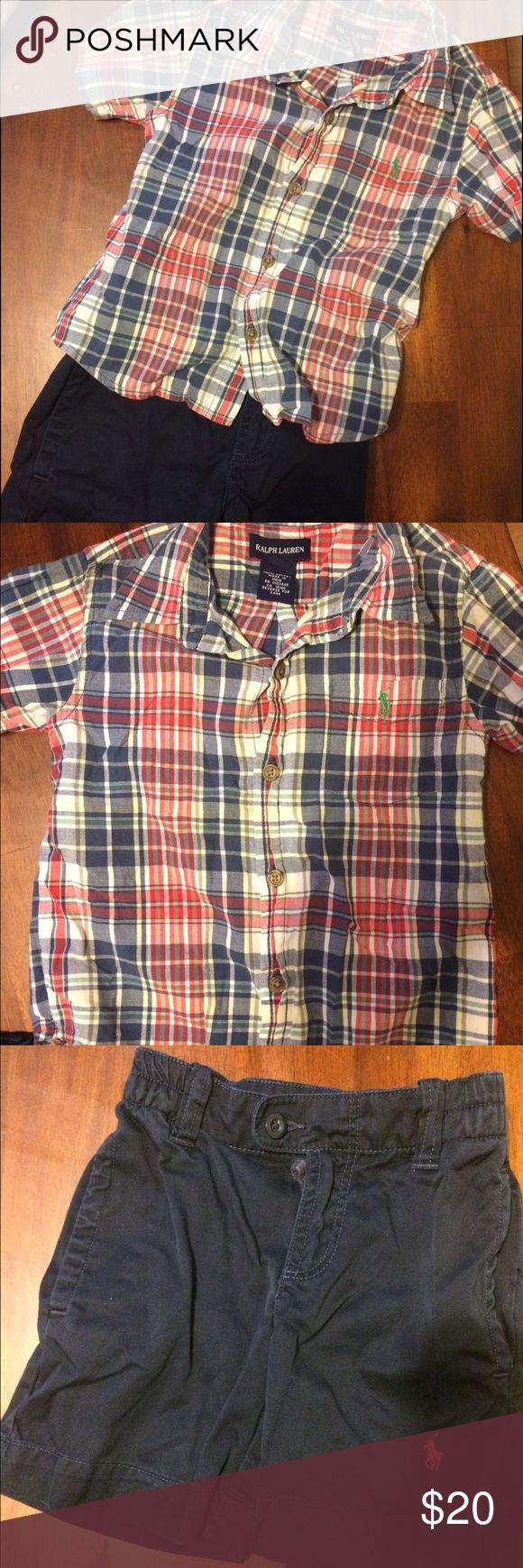 Two piece Ralph Lauren summer set! Two piece Ralph Lauren summer outfit.  Thin plaid collars shirt with blue shorts. Single back pocket on bottoms. No stains or rips. Ralph Lauren Matching Sets