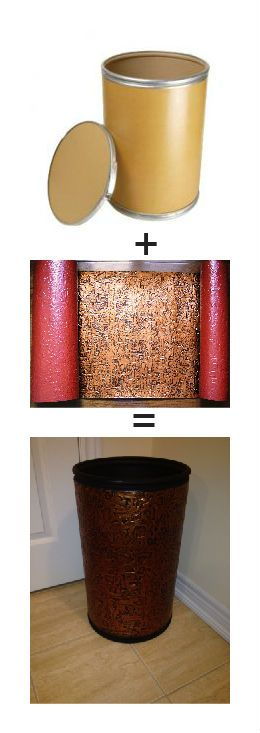 Small weekend project.  Cardboard barrel plus  faux tin backsplash roll glued on top :-) taken from www.talissadecor.com