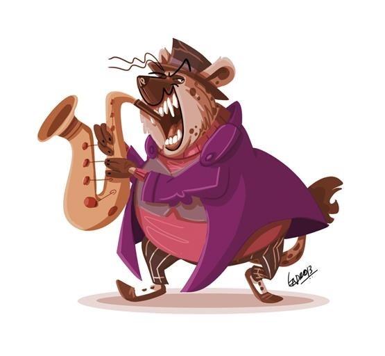 Character Design Shuffle App : Obese hyena jazz musician character design shuffle app