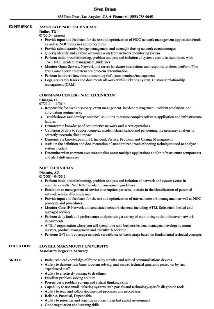 Noc Technician Resume Samples Velvet Jobs for Noc Report