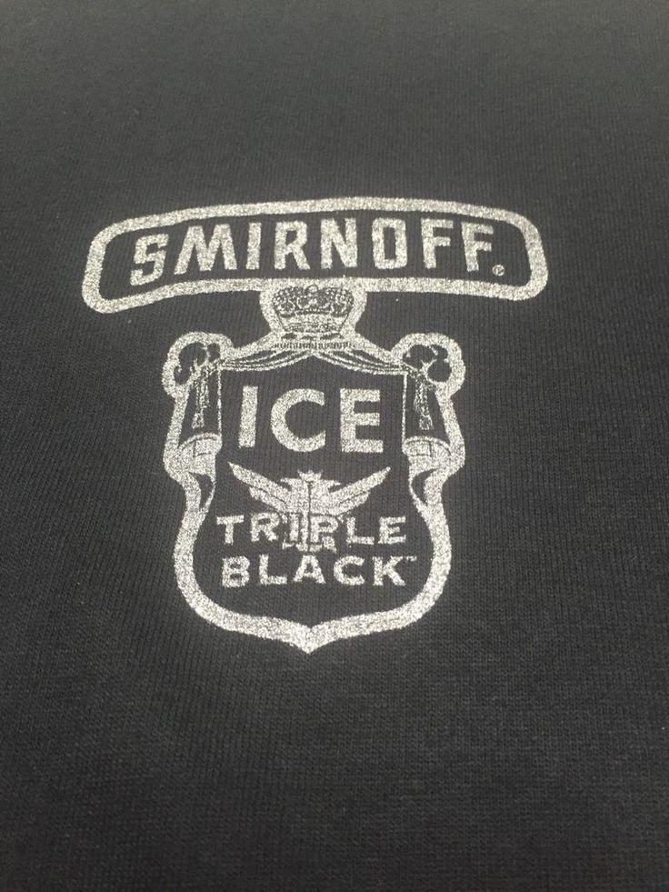 Smirnoff Ice Triple 100 Cotton Fruit Loom SS Mens XL Tee Shirt Black Graphic   eBay