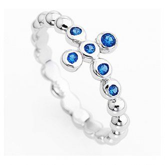 Ring AMEN Bällchen rodinierten Silber 925 blauen Zirkonen | Online Verfauf auf…