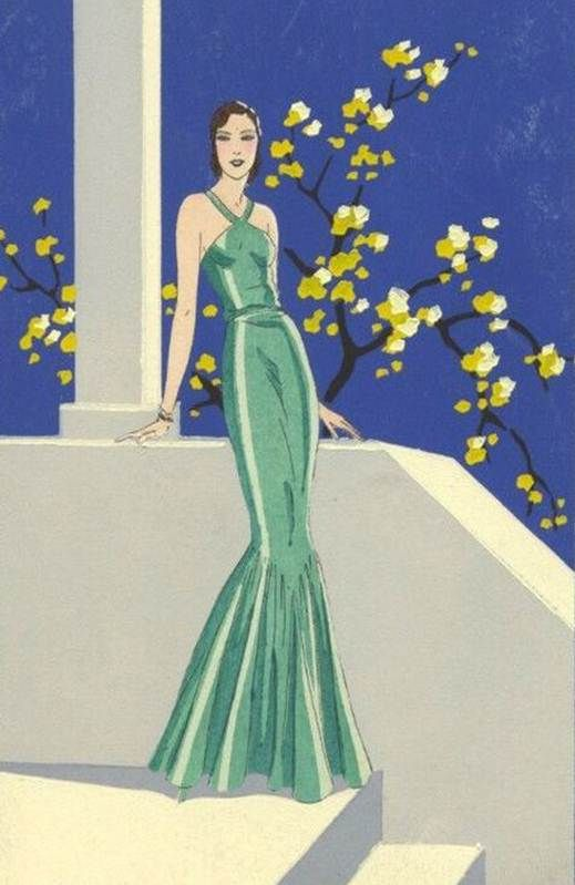 Art Deco Lady In Green