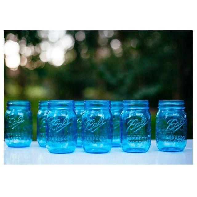 Mason jars for hire, contact Sue and Tessa for enquiries #blue #willowandvine #bluemasonjar #party #wedding #eventdecor #event #jars #vases