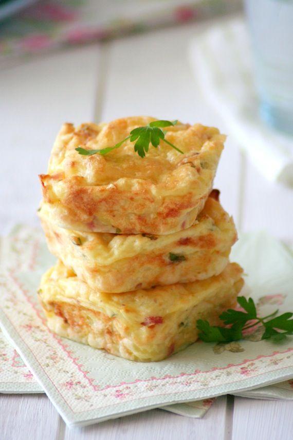 Pastelitos de patata queso parmesano y bacón. Receta